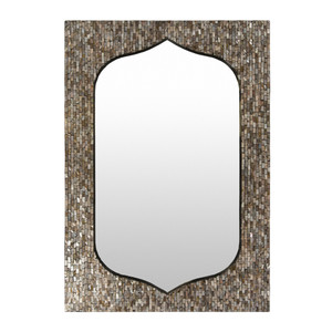 Mother of Pearl Mirror - OVE-3303 Size: 29.5 x 43.5 Material: Mother of Pearl  Description: Naturally glamorous mother of pearl inlay glows with pale iridescence in a stunning mirror. By hand artisans arrange mother of pearl pieces, attaching to a wooden frame around clear mirror. Place one above your living room sofa for a striking focal point.