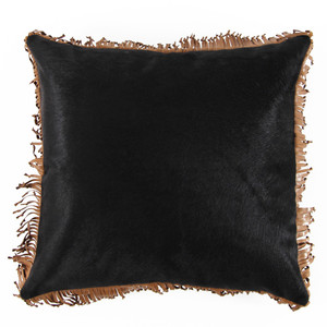As Shown: Mustang Cowhide Fringe Pillow Size: 18 x 18 inches Material: Cowhide Color: Black, Saddle Brown Trim