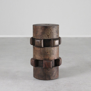 Sugar Cog Stool Table 12 dia x 20 H inches Dark Walnut Finish Oiled Topcoat