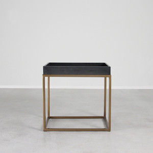 As Shown: Brentwood Leather and Brass Cocktail Table Size: 16 x 22 x 21 H inches Material: Steel with Brass Finish, Leather