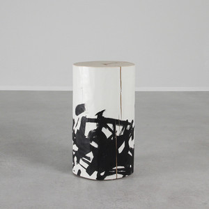 As Shown: Katakana Hand Painted Side Table Size: 12 dia x 20 H inches Color: Black and White Topcoat: Sealed Topcoat