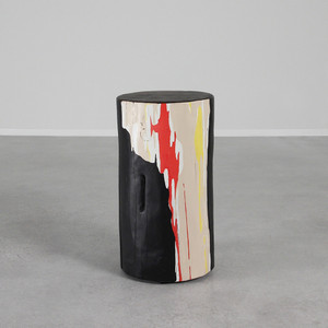 As Shown: Abstractionist Hand Painted Side Table Size: 12 dia x 20 H inches Color: Black, Beige, Orange, Yellow, Purple and Blue Topcoat: Sealed Topcoat