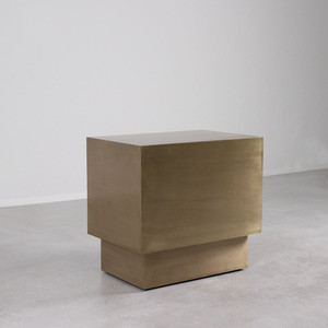 As Shown: Latón Brass End Table Size: 24 x 16 x 22.5 H inches Material: Brass