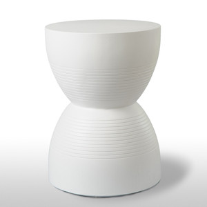 As Shown:  Size: 16 diameter x 21.5 H inches Material: Cast Resin Finish: Painted White  Description: Gracefully curved with horizontal detailing, this elegant side table is handmade in the USA and finished in a white or soft pink painted finish. Its balanced dimensions are equally at home from cottage to penthouse.