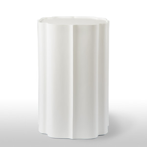 As Shown: Arabesque Side Table Size: 16 x 16 x 25 H inches Material: Cast Resin Finish: Painted White