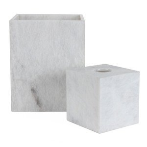 As Shown: Tailored Leather Waste Bin Size: 5.25 x 5.25 x 5.5 H inches - Tissue Box / 8 x 8 x 10 H inches - Waste Bin Material: Solid Marble Color: Classic Pearl White