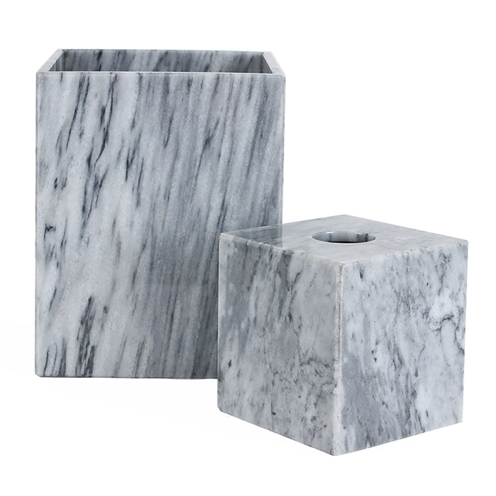 Grey Marble Waste Bin Amp Tissue Box Pfeifer Studio