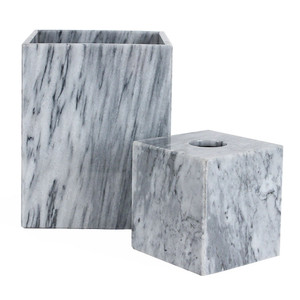 As Shown: Grey Marble Waste Bin & Tissue Box Size: 5.25 x 5.25 x 5.5 H inches - Tissue Box / 8 x 8 x 10 H inches - Waste Bin Material: Solid Marble