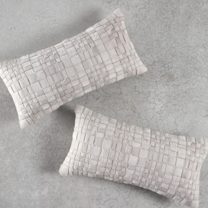 As Shown: Laramie Woven Hide Pillow  Size: 9 x 18 inches Material: Cowhide Color: Off-White