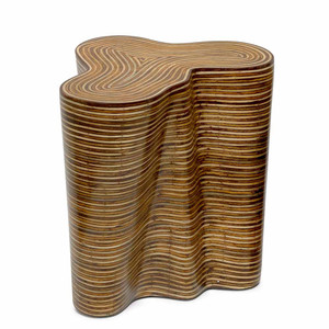 As Shown: Orgo Occasional Table Size: 22 x 18 x 22 H inches Material: Plywood Frame Finish: Rattan Veneer