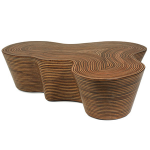 As Shown: Orgo Cocktail Table Size: 50 x 48 x 14.5 H inches Material: Plywood Frame Finish: Rattan Veneer