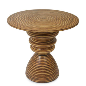 As Shown: Cabo End Table Size: 24 dia x 22 H inches Material: Plywood Frame Finish: Rattan Veneer