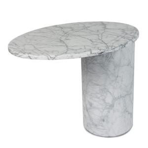 As Shown: Girevol Swivel End Table Size: 18 x 24 x 19.5 H inches Material: White Uliano Marble