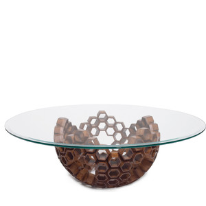As Shown: Constella Cocktail Table Size: 42 dia x 13.5 H inches Material: Gmelina Wood, Glass