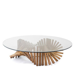 As Shown: Remini Cocktail Table Size: 51 dia x 16 H inches Material: Lauan Wood, Glass Top