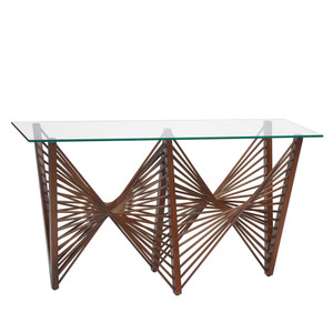 As Shown: Geo Console Table Size: 72 x 20 x 33 H inches Material: Lauan Wood, Glass Top Color: Medium Brown