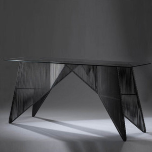 As Shown: Schema Console Table Size: 76.75 x 24 x 35.5 H inches Material: Powder Coated Iron with Glass Top Finish: Black