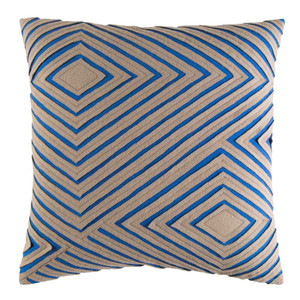 As Shown: Dynamique Textured Pillow - DMR-004 Size: 18 x 18 inches Material: Cotton Color: Blue