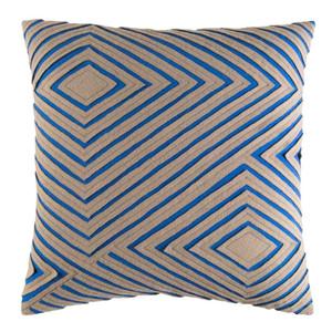 As Shown: Dynamique Textured Pillow - DMR-004 Size: 18 x 18 inches Material: Cotton Color: Blue