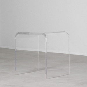 As Shown: Bel Air Acrylic Side Table Size: 20 x 16 x 20 H inches Material: Acrylic