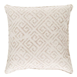 As Shown: Ionia Greek Key Pillow Size: 18 x 18 inches Material: Cotton Color: Taupe