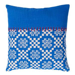 As Shown: Friendly Islands Pillow - DEA-001 Size: 18 x 18 inches Material: Cotton Color: Blue
