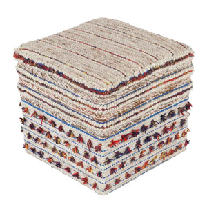 As Shown: Trujillo Tassel Pouf - SCPF-001 Size: 18 x 18 x 18 H inches Material: Viscose Wool Blend