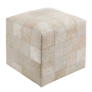 Pompeian Pattern Cowhide PoufSIPF-001 18 x18 x 18 H inches Cowhide