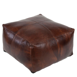 As Shown: Eastwood Leather Pouf - SFPF-001 Size: 22 x 22 x 13 inches Material: Dark Brown Leather