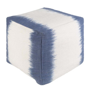 As Shown: Woven Ikat Pouf - MFPF-003 Size: 16 x 16 x 18 H inches Material: Cotton Color: Blue