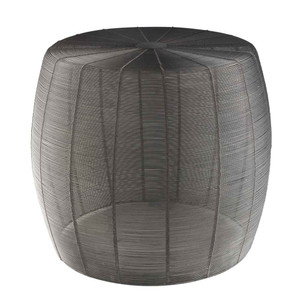 As Shown: Timpani Wire Side Table - ROR-002 Size: 18.5 dia x 16 H inches (Seat 15.5 dia inches) Material: Iron
