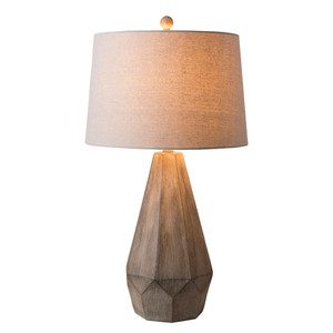 As Shown: Villanova Table Lamp - DRY-101 Size: 16 dia x 29 H inches Material: Whitewash Composite with Grey Linen Shade