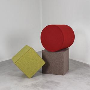 As Shown:  Kräftig Wool Felt Poufs Material: Wool Felt Color: Flamenco Red, Light Brown, and Moss