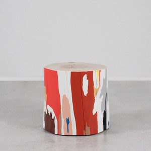 As Shown: Lyrical Modern Hand Painted Log Table Size: 18 dia x 18 H inches Color: Multi Topcoat: Sealed Topcoat