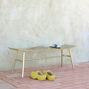 As Shown:  Pagoda Steel Bench Size: 14 x 48 x 17 H inches Material: Steel Finish: Brass Powder Coat