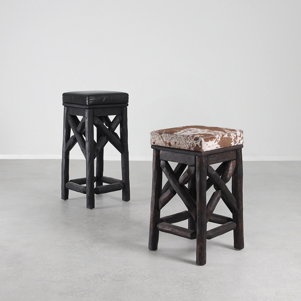 As shown western barstools size 13 x 13 x 24 h inches and 13 x 13 x 29 h inches finish espresso and spotted cowhide ebony and black leather topcoat