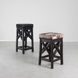 As Shown: Western Barstools Size: 13 x 13 x 24 H inches and 13 x 13 x 29 H inches Finish: Espresso and Spotted Cowhide, Ebony and Black Leather Topcoat: Oiled Finish