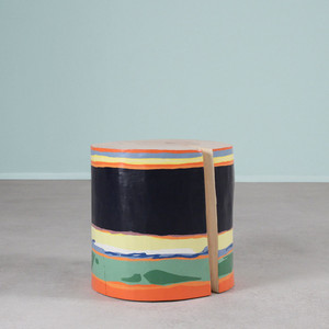 As Shown: Hand Painted Side Table Size: 18 x 18 H inches Color: Mutli Topcoat: Sealed Topcoat