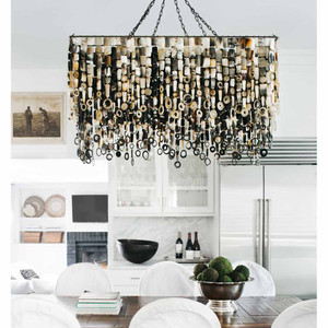As Shown: Nguni Horn Rectangular Chandelier Size:  48 x 24 x 28 H inches Material: African Nguni Cow Horn with Metal Frame