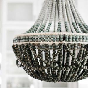 ombr wooden bead chandelier - Wood Bead Chandelier