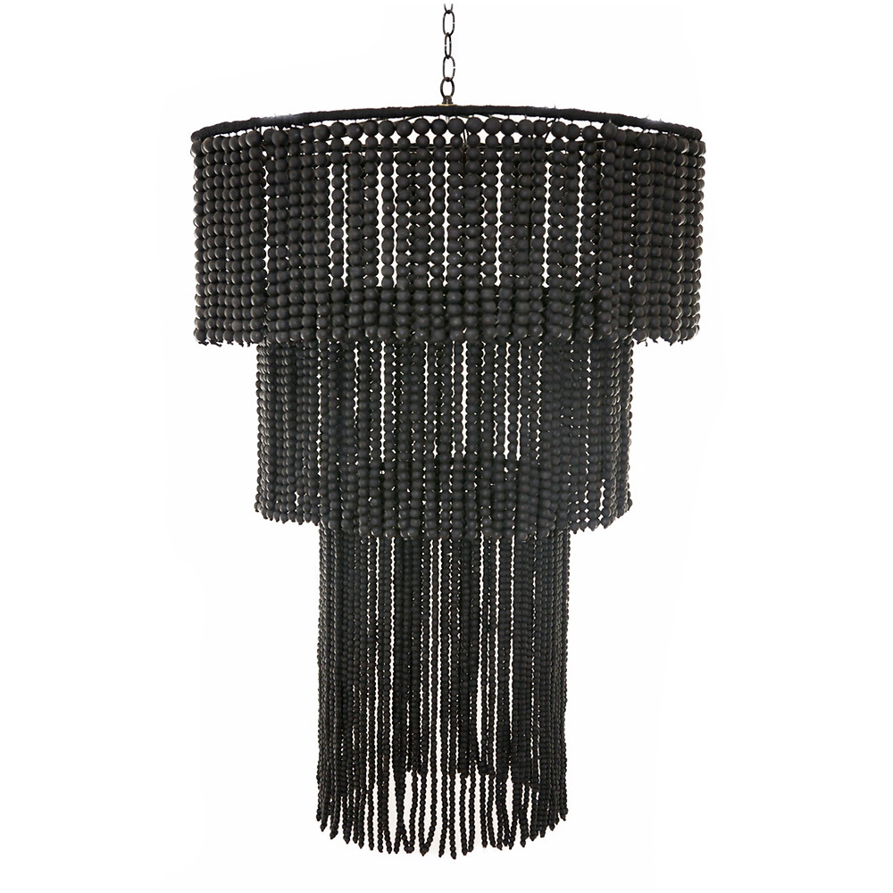 African wooden bead chandelier pfeifer studio as shown fringe wooden bead chandelier size 32 dia x 44 h inches material black matte wooden beads aloadofball Image collections