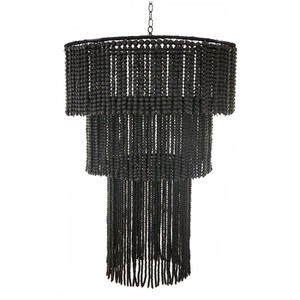 As Shown: Fringe Wooden Bead Chandelier Size:  32 dia x 44 H inches Material: Black Matte Wooden Beads