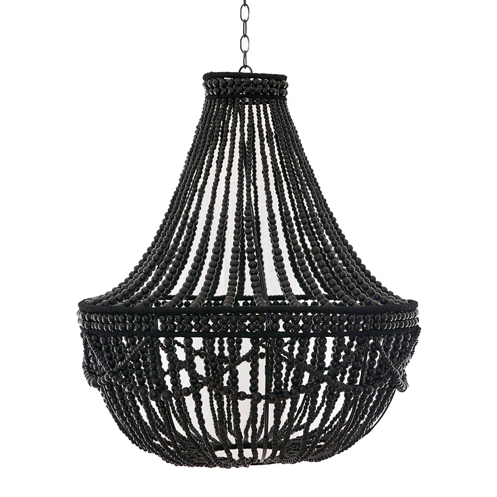 African wooden bead chandelier pfeifer studio as shown noir gloss wooden bead chandelier size 30 dia x 34 h inches material wooden beads aloadofball Image collections