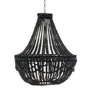 As Shown: Noir Gloss Wooden Bead Chandelier Size:  30 dia x 34 H inches Material: Wooden Beads