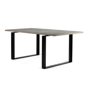 As Shown: Alps Dining Table Size: 78.75 x 35.5 x 30 H inches Material: Concrete Top, Steel Legs
