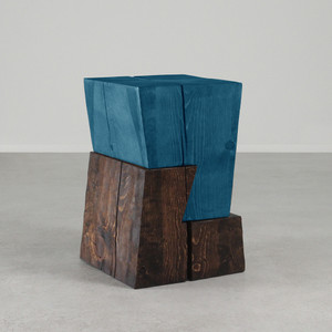 As Shown:  Siete Side Table  Size: 14.5 x 14.5 x 22 H inches Finish: Azure Blue and Dark Walnut Topcoat: Oiled Finish