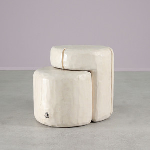 As Shown: Santa Fe Nesting Logs - Wood Nesting Tables Dimensions: 18 x 24 x 20 H inches Finish: White Wash Topcoat: Sealed Topcoat