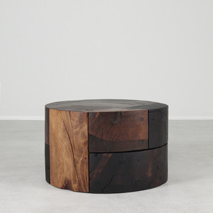 As Shown: Retazos Solid Wood Cocktail Table Dimensions: 30 dia x 18 H inches Finish: Brown Mix Topcoat: Oiled Topcoat