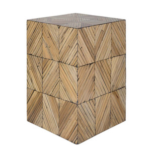 As Shown: Cane Garden Side Table  As Shown: Bambou Cube Table - CGN-001 Size: 13 x 13 x 19.5 H inches Material: Natural Hand Crafted Bamboo in Style B