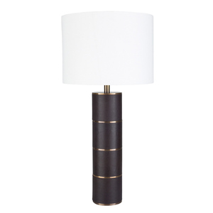 As Shown: Knickerbocker Leather Table Lamp - ADS-001 Size: 14 dia x 28.5 H inches Material: Leather,  White Cotton Drum Shade